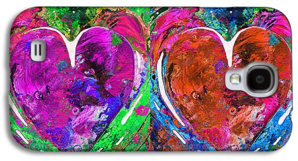 Colorful Pop Hearts Love Art By Sharon Cummings Galaxy S4 Case by Sharon Cummings