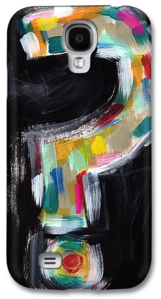 Colorful Questions- Abstract Painting Galaxy S4 Case by Linda Woods