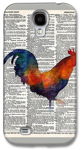 Colorful Rooster On Vintage Dictionary Galaxy S4 Case by Hailey E Herrera