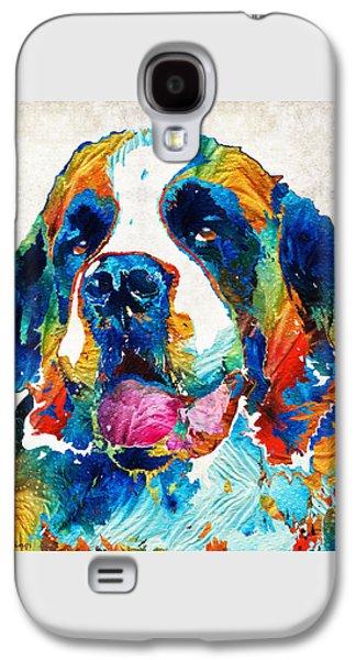 Colorful Saint Bernard Dog By Sharon Cummings Galaxy S4 Case by Sharon Cummings
