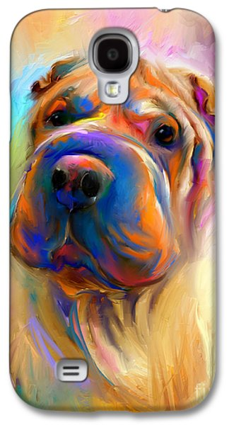 Best Sellers -  - Puppy Digital Art Galaxy S4 Cases - Colorful Shar Pei Dog portrait painting  Galaxy S4 Case by Svetlana Novikova