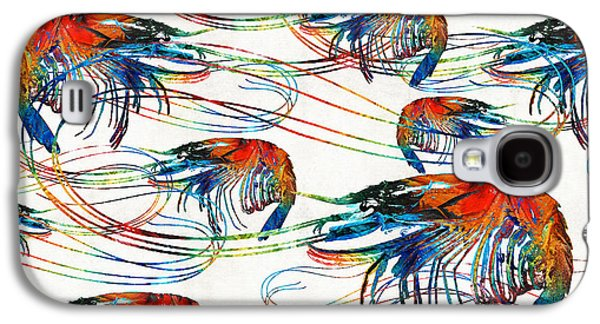 Colorful Shrimp Collage Art By Sharon Cummings Galaxy S4 Case by Sharon Cummings