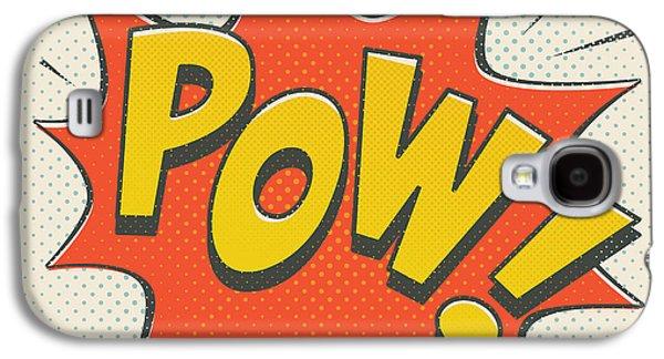 Comic Pow On Off White Galaxy S4 Case by Mitch Frey