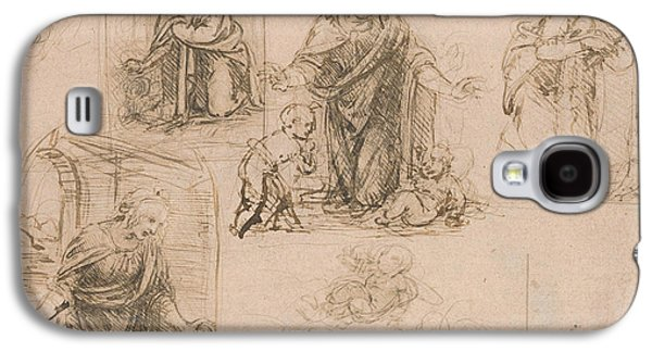 Compositional Sketches For The Virgin Adoring The Christ Child Galaxy S4 Case