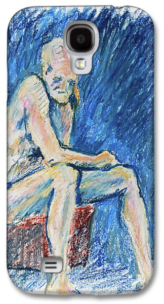 Contemplative A Nude Male Oil Pastel Drawing In Blue Galaxy S4 Case