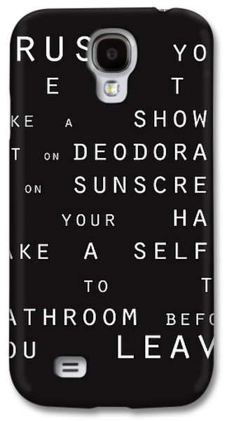 Contemporary Bathroom Rules - Subway Sign Galaxy S4 Case by Linda Woods
