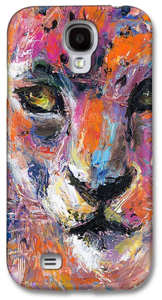 Cheetah Drawings Galaxy S4 Cases - contemporary Wildlife painting cheetah leopard  Galaxy S4 Case by Svetlana Novikova