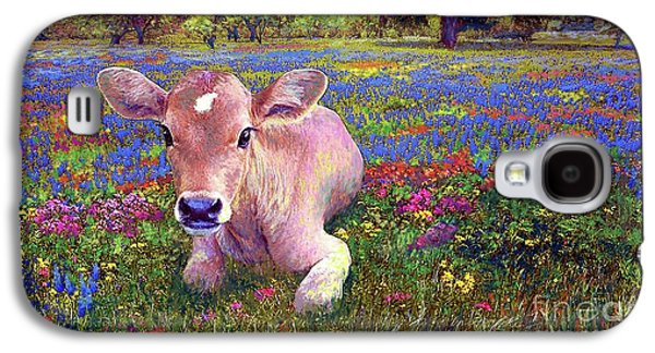 Cow Galaxy S4 Case - Contented Cow In Colorful Meadow by Jane Small