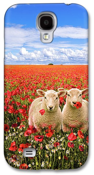 Corn Poppies And Twin Lambs Galaxy S4 Case