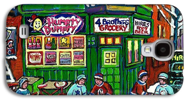 Corner Store Paintings Vintage Grocery Humpty Dumpty 4 Brothers Hires Root Beer Truck Canadian Art Galaxy S4 Case by Carole Spandau