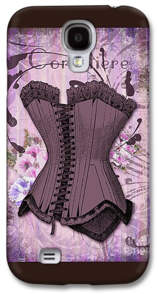 Corsetiere II Vintage Elements Fashion Corset Art Galaxy S4 Case by Tina Lavoie