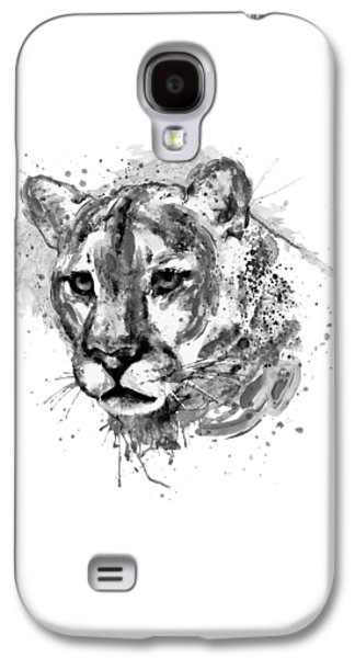 Cougar Head Black And White Galaxy S4 Case by Marian Voicu