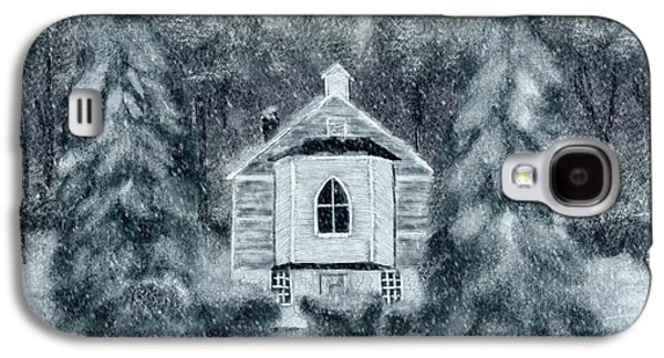 Country Church On A Snowy Night Galaxy S4 Case by Lois Bryan