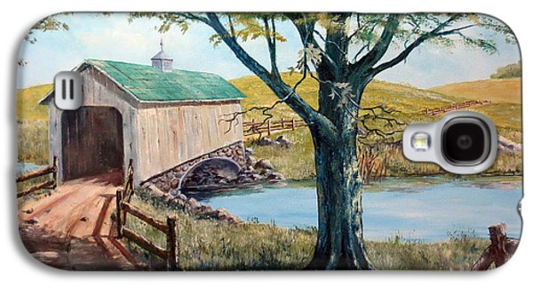 Covered Bridge, Americana, Folk Art Galaxy S4 Case by Lee Piper