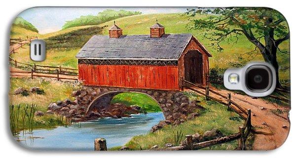 Covered Bridge Country Farm Folk Art Landscape Galaxy S4 Case by Lee Piper