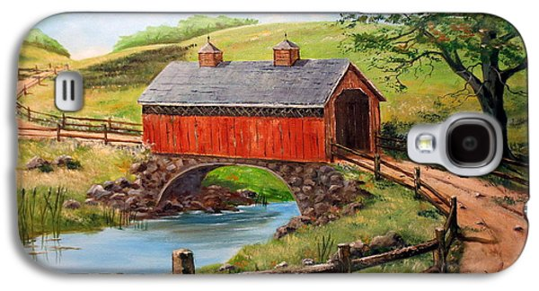 Covered Bridge Country Farm Folk Art Landscape Galaxy S4 Case by Lee Piper