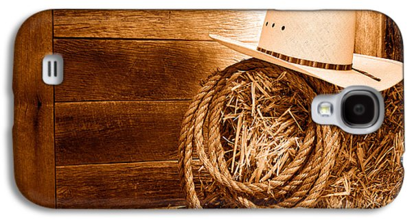 Cowboy Hat On Hay Bale - Sepia Galaxy S4 Case by Olivier Le Queinec