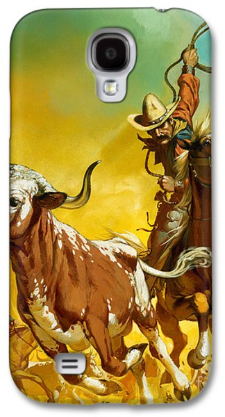Cowboy Lassoing Cattle  Galaxy S4 Case by Angus McBride