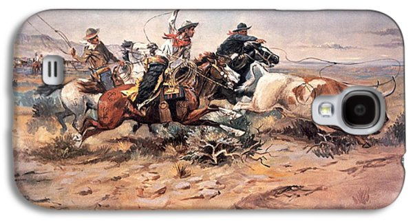 Cowboys Roping A Steer Galaxy S4 Case by Charles Marion Russell