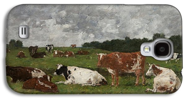 Cows At The Pasture Galaxy S4 Case by Eugene Louis Boudin