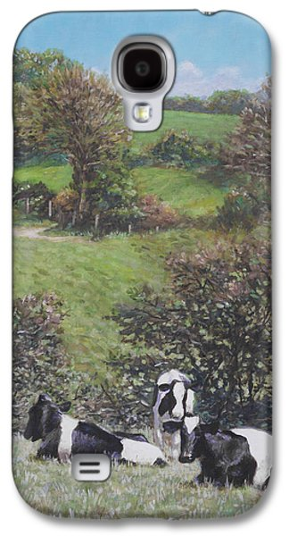 Cows Sitting By Hill Relaxing Galaxy S4 Case by Martin Davey