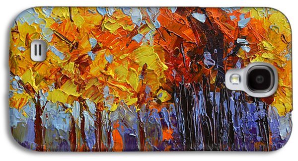 Crispy Autumn Day Landscape Forest Trees - Modern Impressionist Knife Palette Oil Painting Galaxy S4 Case