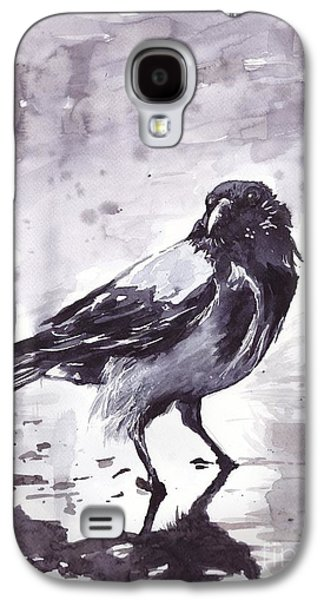 Crow Galaxy S4 Case - Crow Watercolor by Suzann's Art
