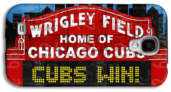 Cubs Win Wrigley Field Chicago Illinois Recycled Vintage License Plate Baseball Team Art Galaxy S4 Case by Design Turnpike