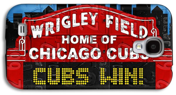 Cubs Win Wrigley Field Chicago Illinois Recycled Vintage License Plate Baseball Team Art Galaxy S4 Case