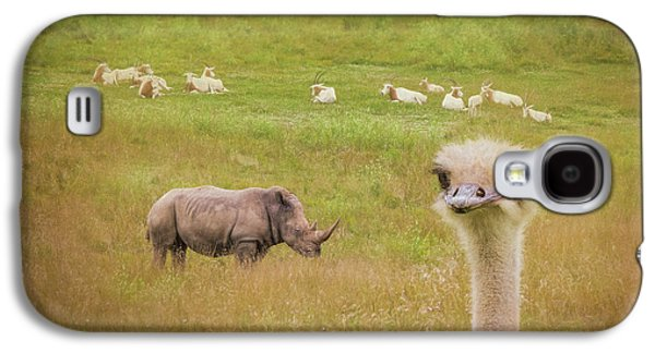 Ostrich Galaxy S4 Case - Curious Ostrich And White Rhino by Tom Mc Nemar