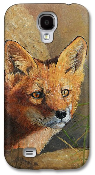Curious - Red Fox Kit Galaxy S4 Case by Johanna Lerwick