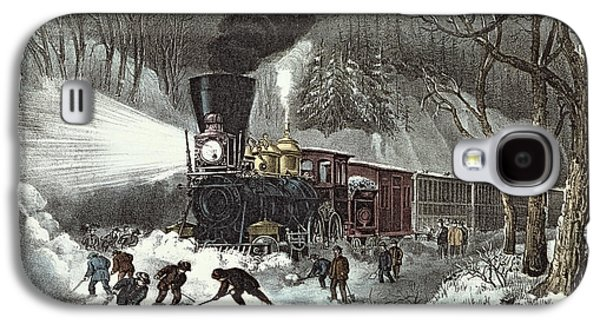Currier And Ives Galaxy S4 Case by American Railroad Scene