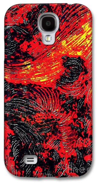 Avant Garde Mixed Media Galaxy S4 Cases - Curved Lines 8 Galaxy S4 Case by Sarah Loft