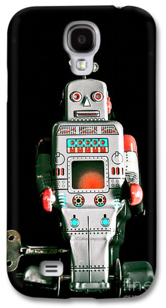 Cute 1970s Robot On Black Background Galaxy S4 Case