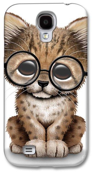 Cute Cheetah Cub Wearing Glasses Galaxy S4 Case