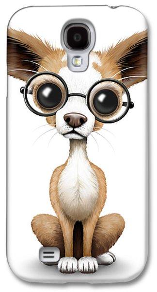 Cute Chihuahua Puppy Wearing Eye Glasses Galaxy S4 Case by Jeff Bartels