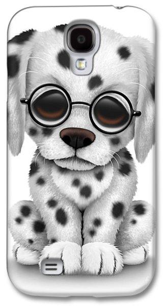 Cute Dalmatian Puppy Dog Wearing Eye Glasses Galaxy S4 Case by Jeff Bartels