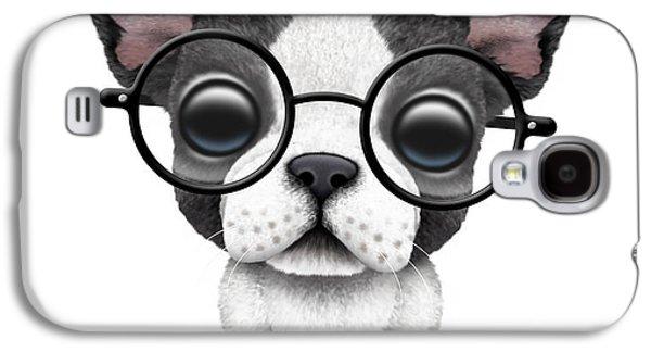 Cute French Bulldog Puppy Wearing Glasses Galaxy S4 Case