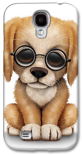 Cute Golden Retriever Puppy Dog Wearing Eye Glasses Galaxy S4 Case
