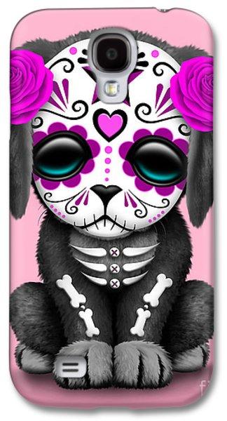Cute Pink Day Of The Dead Sugar Skull Dog  Galaxy S4 Case