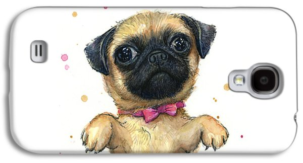 Cute Pug Puppy Galaxy S4 Case by Olga Shvartsur