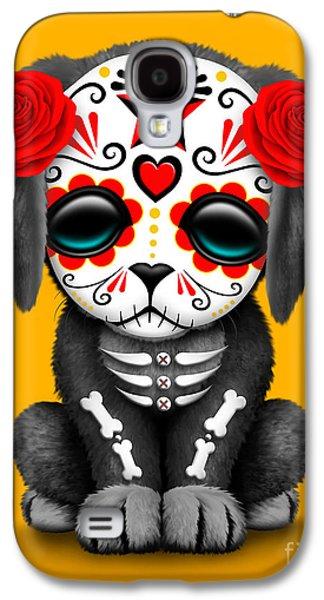 Cute Red Day Of The Dead Sugar Skull Dog  Galaxy S4 Case
