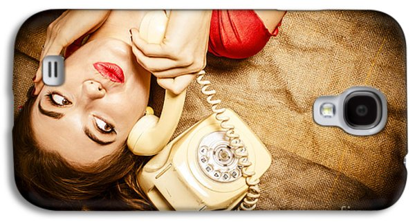 Cute Vintage Pin Up Girl Making Telephone Call Galaxy S4 Case