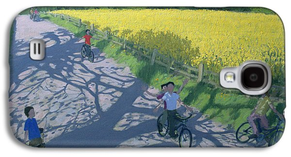 Cyclists And Yellow Field Galaxy S4 Case