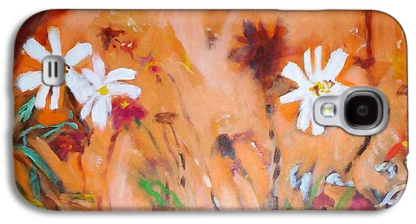 Galaxy S4 Case featuring the painting Daisies Along The Fence by Winsome Gunning