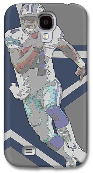 Dak Prescott Dallas Cowboys Contour Art Galaxy S4 Case by Joe Hamilton