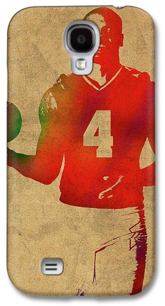 Dak Prescott Nfl Dallas Cowboys Quarterback Watercolor Portrait Galaxy S4 Case by Design Turnpike