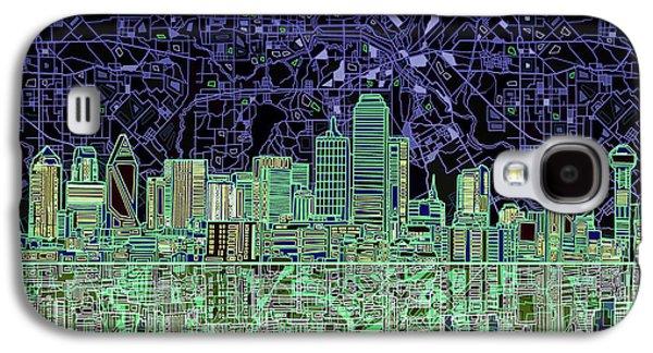 Dallas Skyline Abstract 4 Galaxy S4 Case by Bekim Art