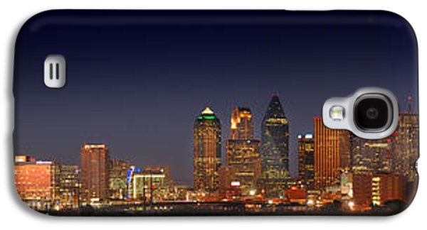 Dallas Skyline Galaxy S4 Case - Dallas Skyline At Dusk Big Moon Night  by Jon Holiday