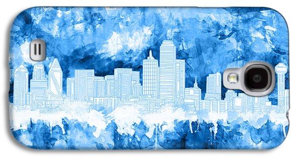 Dallas Skyline Brush Strokes Blue Galaxy S4 Case